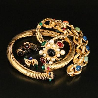 Jewel Tone Necklaces, Earrings, Brooch and Bracelet