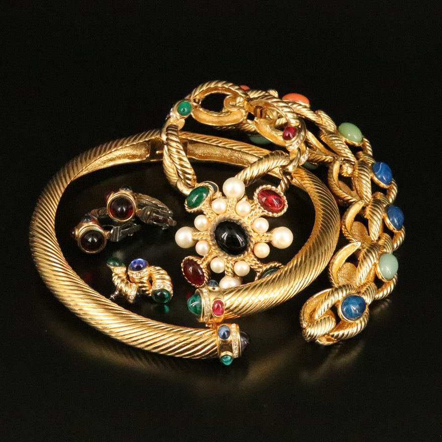 Jewel Tone Necklaces, Earrings, Bracelet and Ciner Brooch
