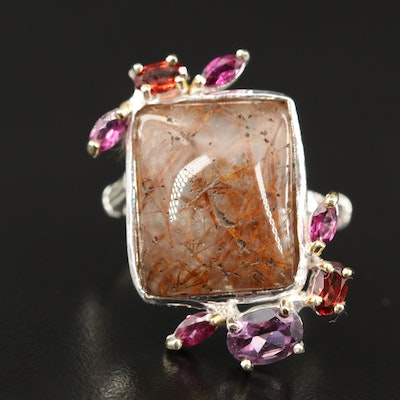 Sterling Sagenetic Quartz, Amethyst and Garnet Ring with Bamboo Style Shank
