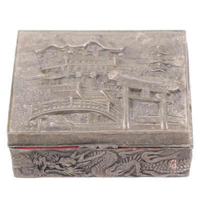 Japanese Temple and Dragon Motif Relief Metal Box