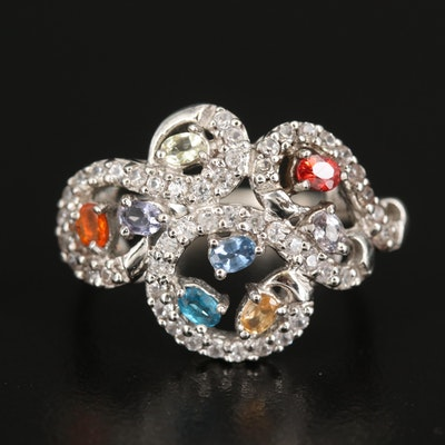 Sterling Openwork Ring with Sapphire and Opal