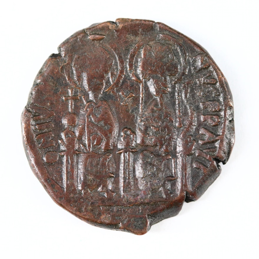 Ancient Byzantine AE Follis Coin of Justin II and Sophia, ca. 570 AD