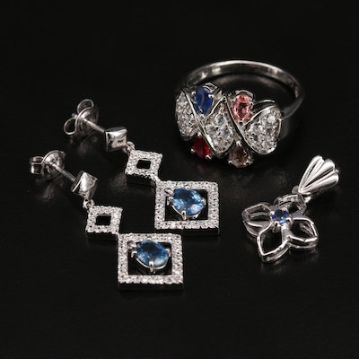 Sterling Ring, Earrings and Pendant with Sapphire, Tourmaline and Zircon