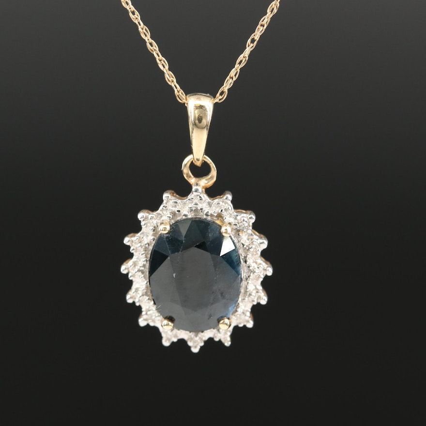 10K 3.80 CT Sapphire and Diamond Necklace
