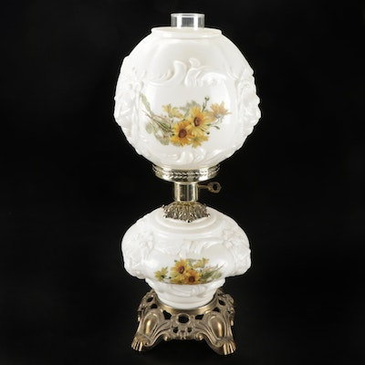 Victorian Style Painted Milk Glass Parlor Oil Lamp, Mid-20th Century