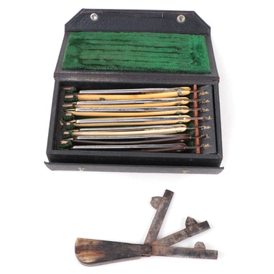 Medicinal Bloodletting Fleam and Straight Razor Blades in Original Storage Case