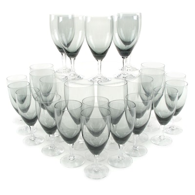 """Fostoria """"Debutante Gray"""" Smoked Glass Water Goblets and Wine Glasses"""