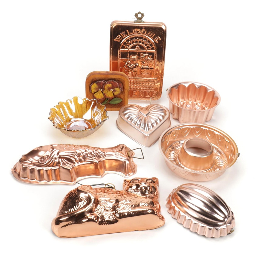 Copper Baking Molds, Carnival Glass Bowl, and Wooden Decor