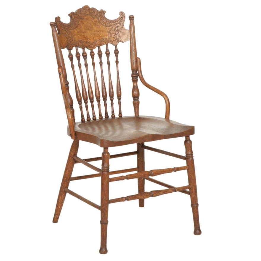 Sikes Chair Company Oak Pressed-Back Side Chair, Early 20th Century