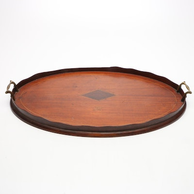 English Mahogany Inlaid Wooden Gallery Tray with Brass Handles, Early 20th C.