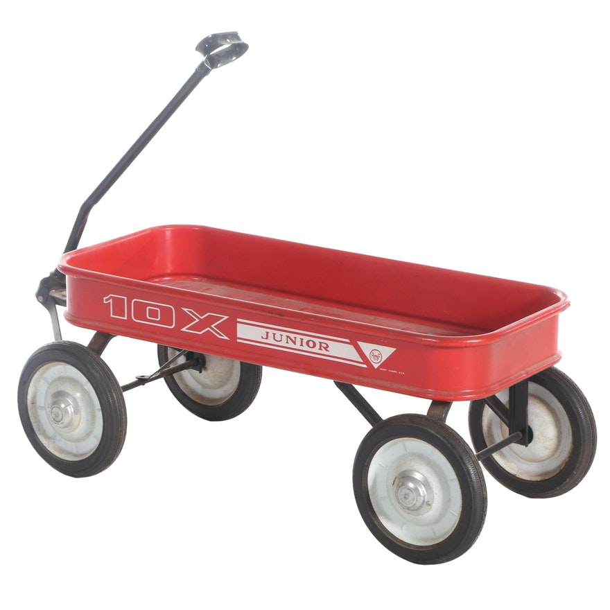 """AMF """"Junior 10X"""" Red Painted Metal Wagon with Rubber Tires, circa 1960s"""