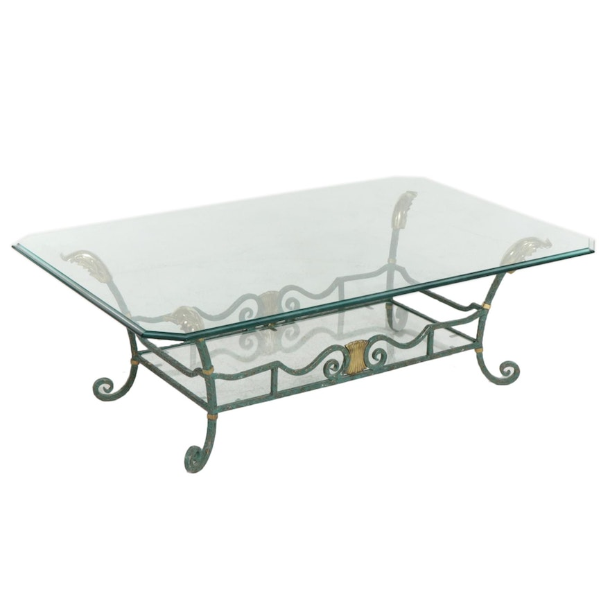 La Barge Glass Top Coffee Table with Brass and Verdigris-Patinated Metal Frame