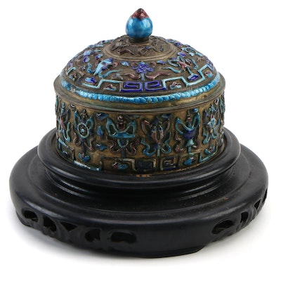 Chinese Style Repoussé Enameled Lidded Round Box on Carved Wood Display Stand
