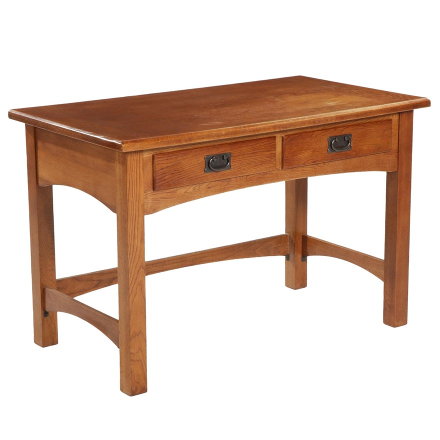 Universal Furniture Arts and Crafts Style Oak Two-Drawer Desk