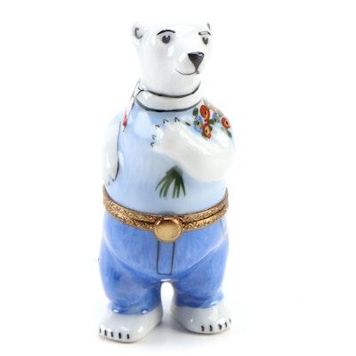 La Gloriette Hand-Painted Polar Bear Limoges Porcelain Box