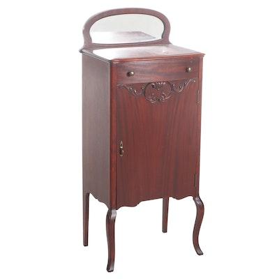 Mahogany Mirror-Back Music Cabinet, Early 20th Century