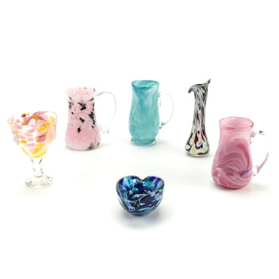 Blown Glass Pitcher Vases with Confetti Glass Bud Vase, Bowl and Goblet