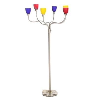 "Modern ""Medusa"" Floor Lamp with Multicolor Glass Shades"