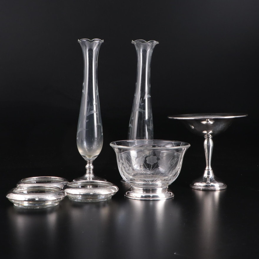 Preisner Sterling Silver Compote with Sterling Silver and Glass Tableware