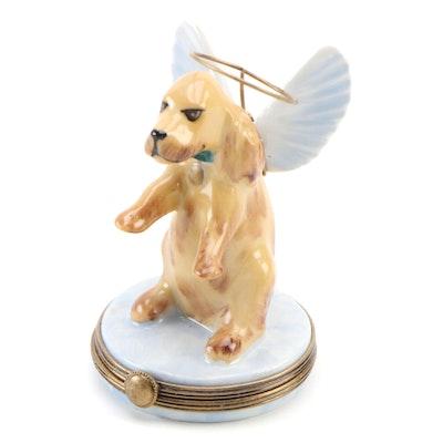 Hand-Painted Angel Dog Limoges Porcelain Box