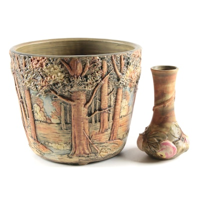 """Weller """"Baldin Apple"""" Bud Vase and Other Painted Relief Ceramic Planter"""