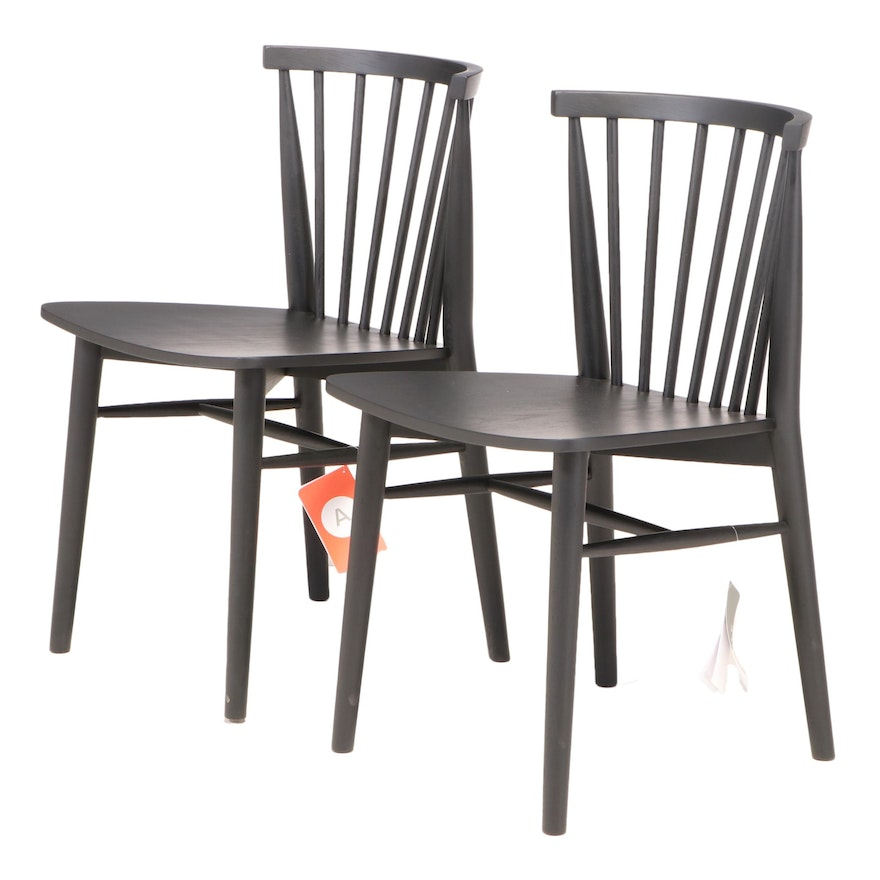 """Pair of Article """"Rus"""" Modernist Style Ebonized Oak Dining Side Chairs"""