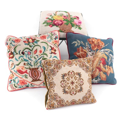 Handmade Needlepoint Covered Metal Footstool and Three Throw Pillows