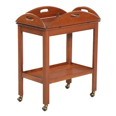Cherry Finish Butler Tray Table on Wheels, Mid to Late 20th Century
