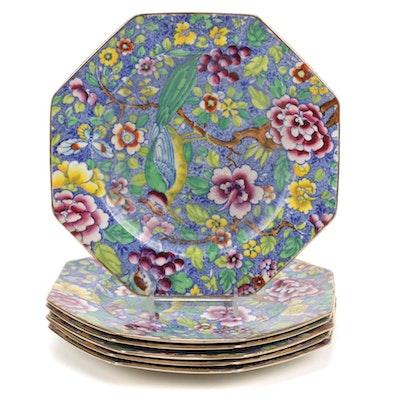 James Kent English Ceramic Polychrome Transferware Hexagonal Plates