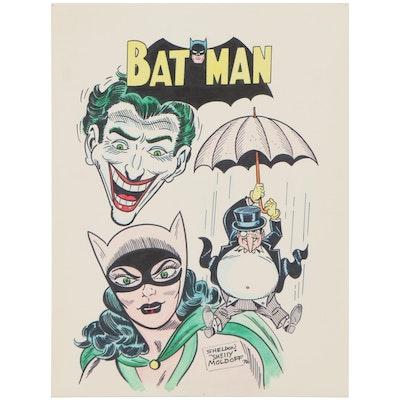 Sheldon Moldoff Batman Villains Ink Illustration, 1992