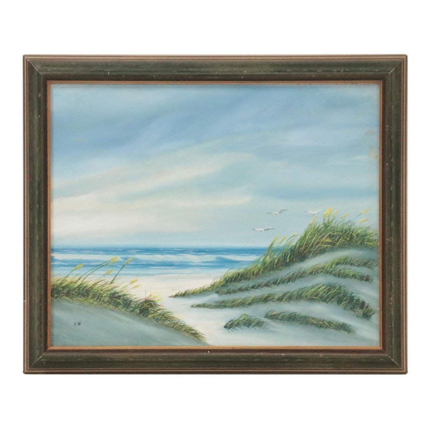 Seaside Landscape Oil Painting with Seagulls, Late 20th Century