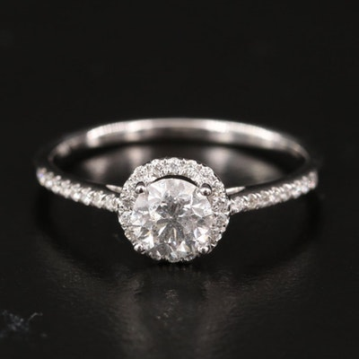 14K Diamond Ring with Halo