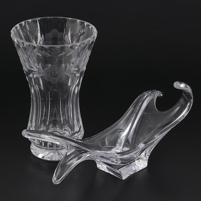 Cofrac French Crystal Free Form Bowl with Other Etched Crystal Vase, Late 20th C