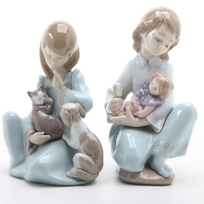 """Lladró """"Cat Nap"""" and """"Thoughtful Caress"""" Porcelain Figurines"""