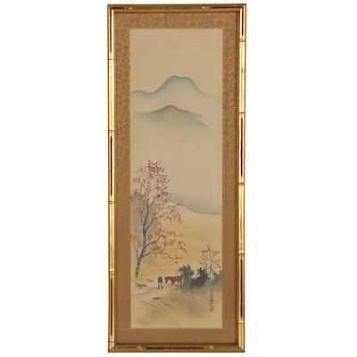 East Asian Gouache Painting of Man With Horse, 20th Century