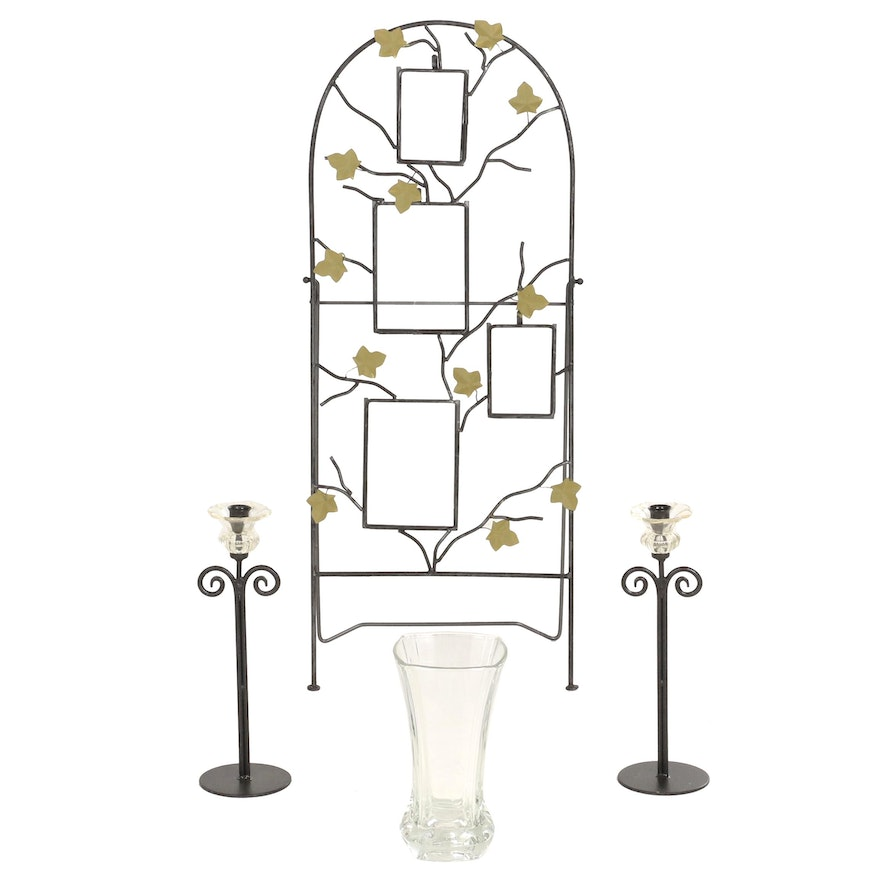 Metal Ivy Motif Easel Picture Frame with Candlesticks and Glass Vase