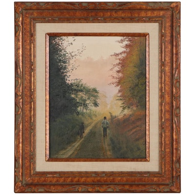 Dorothy Montgomery Oil Painting of Country Road, Late 20th Century