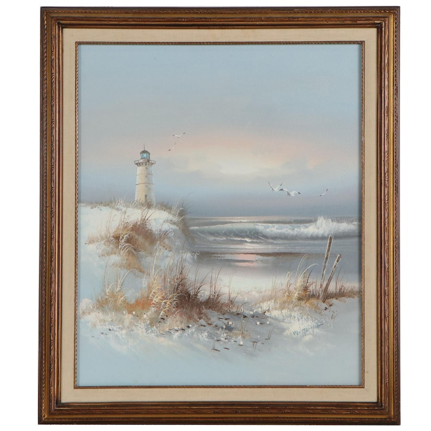 Seaside Landscape Oil Painting, Late 20th Century