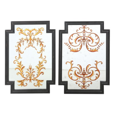 Merriman Collection Wall Mirrors with Gold Scrollwork Decoration