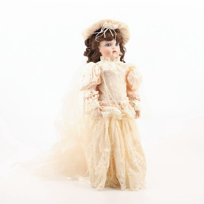 Franklin Heirloom Dolls Porcelain Doll with Stand and Box
