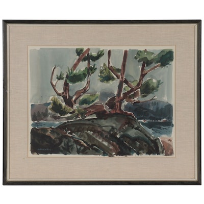 Jack Meanwell Watercolor Painting with Trees, Late 20th Century