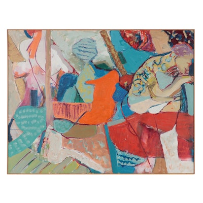 Jane Wettig Large-Scale Abstract Figural Acrylic Painting, Late 20th Century