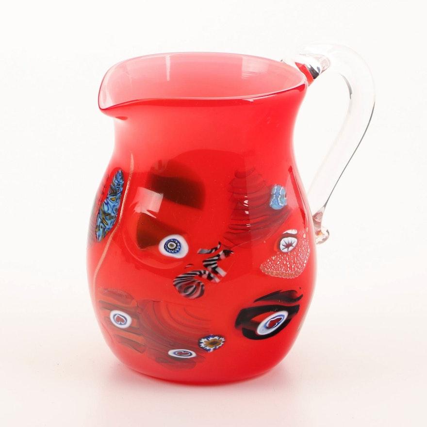 Ragazzi Murano Handblown Art Glass Pitcher