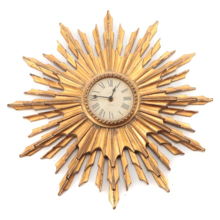 "Newgate ""The Sunburst"" Resin Wall Clock, Mid to Late 20th Century"
