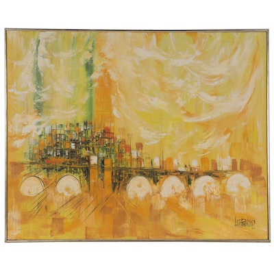 Vanguard Studios Abstracted Cityscape Oil Painting, Circa 1970