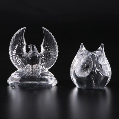 Stölzle and Daum Glass and Crystal Eagle and Owl Paperweights