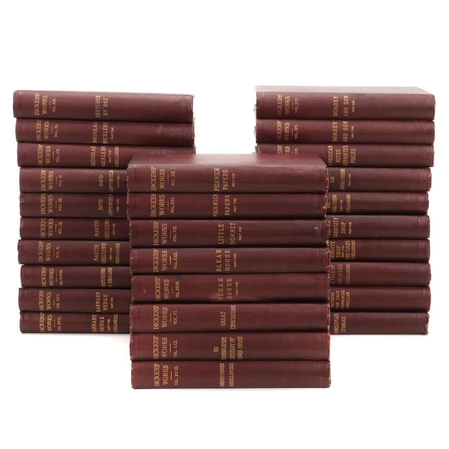 """""""The Works of Charles Dickens"""" Twenty-Eight Volume Set, Early 20th Century"""