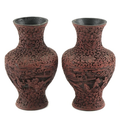 Chinese Carved Cinnebar Lacquer Vases