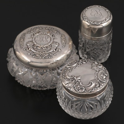 American Sterling Silver Lidded Vanity Jars, Early 20th Century