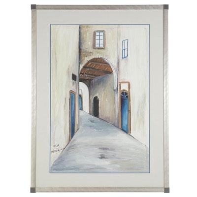Oil Painting of Marrakesh Alleyway, Circa 1996